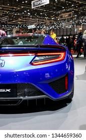 Geneva, Switzerland, march 9, 2019 - International Motor Show, Salon de auto, honda nsx