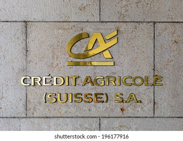 GENEVA, SWITZERLAND - MAY 31, 2014: An outlet of Credit Agricole S.A. In 2013 it had net income of 2,881 million Euros and 75,529 employees.
