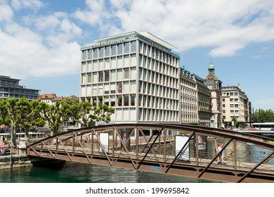 GENEVA, SWITZERLAND - MAY 31, 2014: Offices of the private bank J. Safra Sarasin. The Group is represented worldwide in 30 locations in Europe, Asia, the Middle East and Latin America.