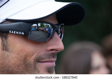GENEVA, SWITZERLAND - MAY 6 : Sight of the starting line of the Geneva marathon 2012 through the sunglasses of Mike Aigroz. Mike Aigroz was the 2012 european vice champion during the challenge Roth.
