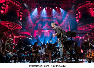 Geneva, Switzerland, May 8 2018: The UN Orchestra conducted by Antoine Marguier in rehearsal at the Victoria Hall on the occasion of Europe Day 2018.