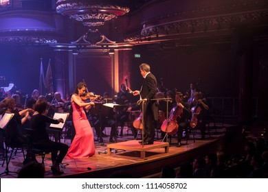 Geneva, Switzerland - May 9 2018: The UN Orchestra with soloist Liya Petrova  conducted by Antoine Marguier performs in a concert at the Victoria Hall on the occasion of Europe Day.