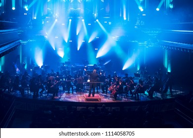 Geneva, Switzerland - May 9 2018: The UN Orchestra conducted by Antoine Marguier performs in a concert at the Victoria Hall on the occasion of Europe Day.
