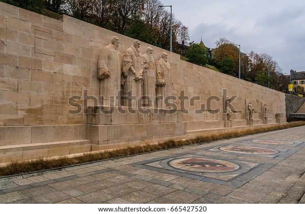 GENEVA, SWITZERLAND - NOVEMBER 14, 2016: International Monument of the Reformation Wall (1909) in Parc des Bastions (Bastions Park).