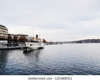 Geneva, Switzerland - November 24, 2018: the view of lake Leman in Geneva