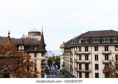 Geneva, Switzerland - November 24, 2018: Geneva buildings in a gloomy day