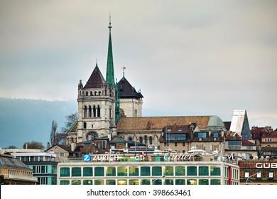 GENEVA, SWITZERLAND - NOVEMBER 27: Geneva cityscape overview with St Pierre Cathedral on November 27, 2015 in Geneva, Switzerland.