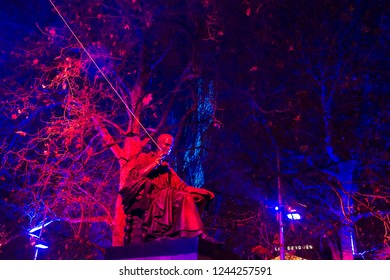 Geneva / Switzerland - november 28, 2008 : during the month of December the trees receive luminous ornaments created by artists