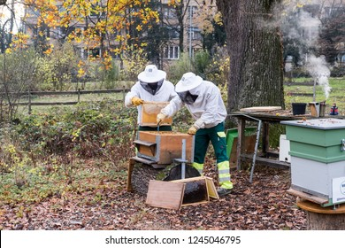 Geneva, Switzerland - November 29 2018: Geneva city beekeepers work on beehives to extract honey in a public park.