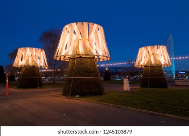 Geneva / Switzerland - november 30 , 2008 : during the month of December the trees receive luminous ornaments created by artists