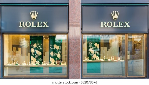 GENEVA, SWITZERLAND - NOVEMBER 30, 2016: A Rolex outlet. Rolex is a worldwide luxury watch brand relying on 4,000 watchmakers in over 100 countries
