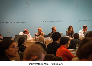 GENEVA, SWITZERLAND - OCTOBER 1, 2014: A conference session in WTO Public Forum, the largest annual outreach event providing platform for participants to discuss the latest developments in world trade