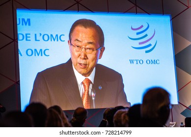 GENEVA, SWITZERLAND - OCTOBER 1, 2014: Ban Ki-moon, United Nations Secretary-General, giving speech at the WTO Public Forum, the annual platform for participants to discuss developments in world trade