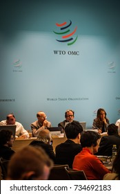 GENEVA, SWITZERLAND - OCTOBER 1, 2014: WTO Public Forum, the largest annual outreach event providing platform for participants to discuss the latest developments in world trade