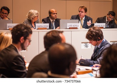 GENEVA, SWITZERLAND - OCTOBER 1, 2014: Julia Marton-Lefèvre, Lanre Akinola and Dominik ZILLER as panelists at WTO Public Forum 2014, the annual platform for discussion on developments in world trade