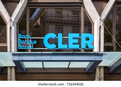 GENEVA, SWITZERLAND – OCTOBER 1, 2017: A shopfront sign for CLER bank. In 2017 Banque Coop became Banque Cler which describes itself as a Swiss bank with a social conscience.