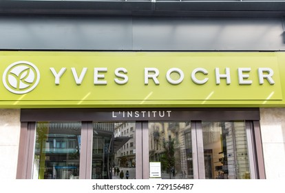 GENEVA, SWITZERLAND – OCTOBER 1, 2017:  An outlet of  Yves Rocher. Founded in 1959 it is a cosmetics and beauty brand.