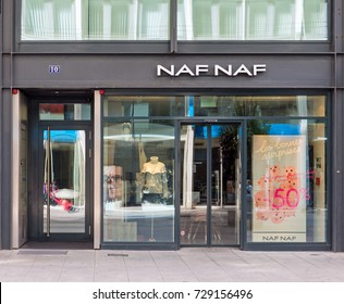 GENEVA, SWITZERLAND – OCTOBER 1, 2017:  A NAF NAF store. It is a womens fashion brand with a unique store concept that depicts a feminine, intimate, surprising and stylish brand experience.