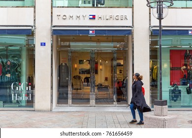 GENEVA, SWITZERLAND – OCTOBER 1, 2017: A branch of Tommy Hilfiger. Since its debut in 1985, the Tommy Hilfiger Group is owned by PVH and is a US$ 6.6 billion apparel and retail company.