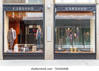 GENEVA, SWITZERLAND – OCTOBER 1, 2017: A CABASSO outlet. It is a men's luxury brand made in Italy, specialising in clothing and leather goods.