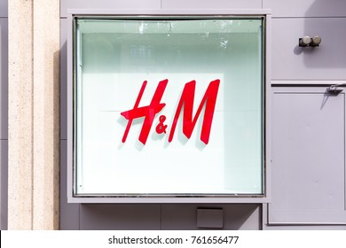 GENEVA, SWITZERLAND – OCTOBER 1, 2017: A H&M sign for the Swedish retail clothing chain Hennes & Mauritz AB. In 2016 H&M had 43 online markets and more than 4,500 stores in 68 markets.