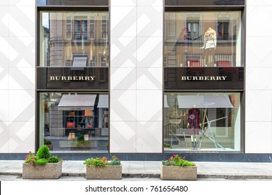 GENEVA, SWITZERLAND – OCTOBER 1, 2017: A Burbery outlet. Founded in 1856, Burberry is a global luxury brand with a distinctive British identity.