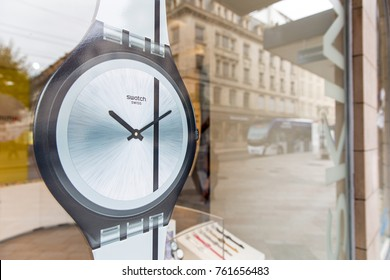 GENEVA, SWITZERLAND – OCTOBER 1, 2017: A Swatch outlet.  The first collection of twelve Swatch models was introduced on 1 March 1983 in Zürich, Switzerland.