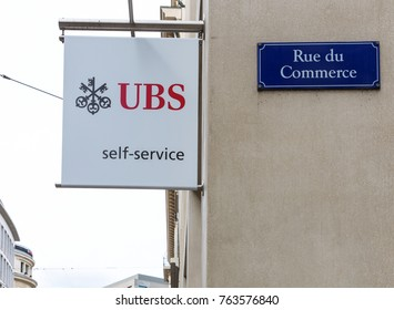 GENEVA, SWITZERLAND – OCTOBER 1, 2017: A UBS sign on rue de Commerce. UBS provides financial advice and solutions worldwide.