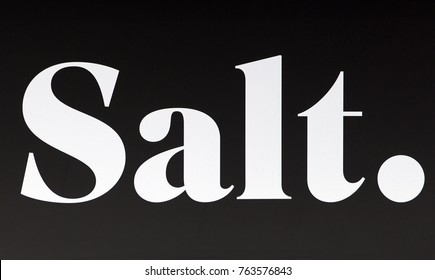 GENEVA, SWITZERLAND – OCTOBER 1, 2017: A sign for SALT. It is a mobile phone network  in Switzerland previously known as Orange.