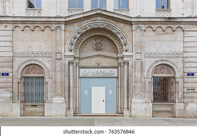 GENEVA, SWITZERLAND – OCTOBER 1, 2017: Offices of Indosuez Wealth Management. It is part of the Credit Agricole Group since 1996.