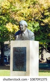 Geneva, Switzerland - October 18, 2017: Bust of psychologist Jean Piaget in the Parc des Bastions