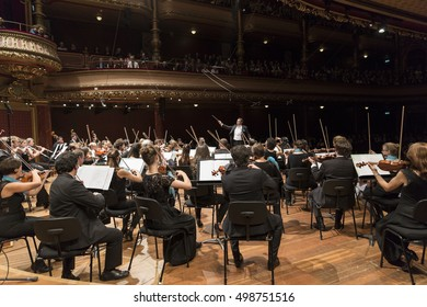 GENEVA, SWITZERLAND  OCTOBER 2, 2016:  The UN Orchestra conducted by Antoine Marguier performs at the Victoria Hall in honor of retiring UN Secretary General Ban Ki-moon.