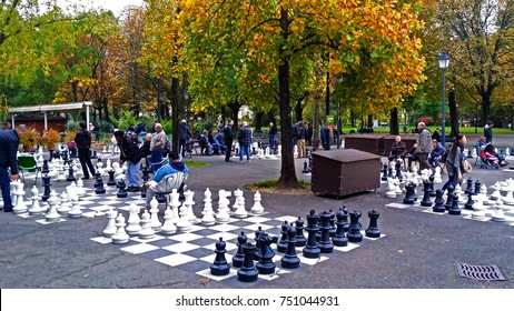 GENEVA, SWITZERLAND - OCTOBER 25, 2014: supersized chessboards in the park at Old Town Geneva. Editorial Only.