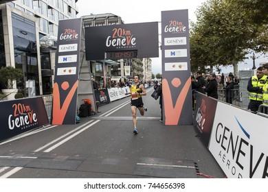 GENEVA, SWITZERLAND – OCTOBER 29, 2017: Thomas Huwiler of Stade Geneve finishes second in the inaugural edition of the Geneva 20km.