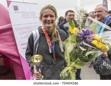 GENEVA, SWITZERLAND – OCTOBER 29, 2017: Victoria Crawford of Great Britain celebrates her win in the womens category of the inaugural edition of the Geneva 20km race in a time of 1h18m45s.