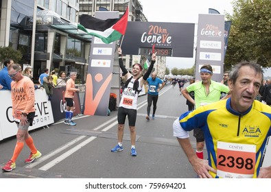 GENEVA, SWITZERLAND – OCTOBER 29, 2017: Mohammad Alqadi from Palestine celebrates completing the inaugural edition of the Geneva 20km race in 280 place.