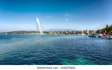 Geneva, Switzerland - October 8, 2018: Panorama of Lake Geneva with the fountain Jet D'eau.