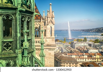 Geneva, Switzerland - October 8, 2018: Panorama of Geneva from the tower of St. Peter's Cathedral.