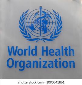 Geneva, Switzerland - Sept 2017 : World Health Organization sign on headquarter
