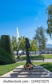 GENEVA, Switzerland - September 11 2018: Monument to Sisi (Statue of the empress Elisabeth of Bavaria, located at the promenade du Mont-Blanc)