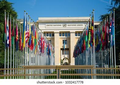 Geneva,  Switzerland - September 14, 2017: Palace of Nations - seat of the United Nations in Geneva, Switzerland