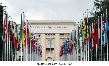 GENEVA, SWITZERLAND - SEPTEMBER 16, 2016: National flags at the entrance of UN office, Geneva, Switzerland . The United Nations was established in Geneva in 1947 and is the second largest UN office