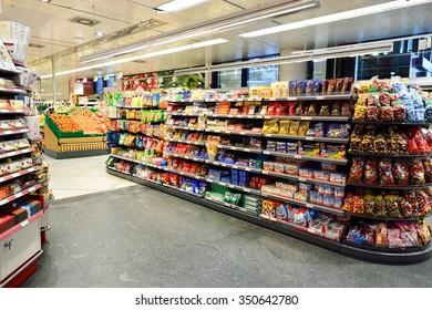 GENEVA, SWITZERLAND - SEPTEMBER 19, 2015: interior of Migros supermarket. Migros is Switzerland's largest retail company, its largest supermarket chain and largest employer