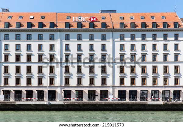 GENEVA, SWITZERLAND - SEPTEMBER 2, 2014: Offices of HSBC bank. Founded in 1865 in Hong Kong, it has around 55 million customers in around 80 countries and territories.