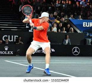 GENEVA, SWITZERLAND - SEPTEMBER 20, 2019: professional tennis Denis Shapovalov of Canada during the third match of the Laver Cup 2019 at Palexpo Exhibition Center in Geneva.