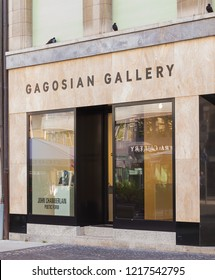Geneva, Switzerland - September 24, 2016: entrance to the Gagosian Gallery in the city of Geneva. Gagosian is a contemporary art gallery owned and directed by Larry Gagosian.