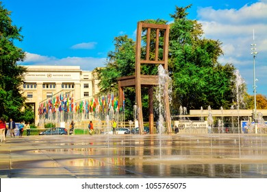 GENEVA, SWITZERLAND - SEPTEMBER 27, 2017: Broken Chair on the United Nation square. It symbolises opposition to land mines and cluster bombs.
