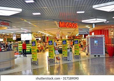 GENEVA, SWITZERLAND - SEPTEMBER 3: Entrance of Migros grocery store in Geneva on September 3, 2015. Migros is Switzerland's largest retail company.