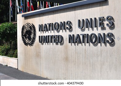 GENEVA, SWITZERLAND - SEPTEMBER 3: The United Nation sign in Geneva on September 3, 2015. Geneva is the second largest city of Switzerland.