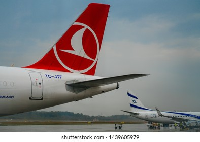 GENEVA, SWITZERLAND - September 6, 2018: A Turkish Airlines Airbus A321 with an El Al Boeing 737-800 in Geneva Airport.